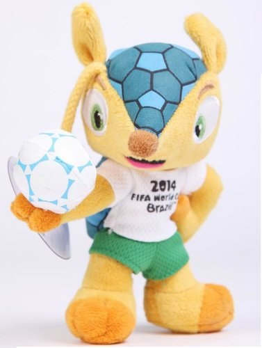2014 World Cup Brazil Fifa Mascot Fuleco Plush Toy with Suction Cup Hold Ball Pose 5 Inch Toy plush stuffed animal toy sport Collectible official mascot plushes official plush product 100% Polyester 13cm Mascot of 2014 Fifa World Cup Official Licensed Product Armadillo the Official Emblem Official Mascot of the 2014 Fifa World Cup Brazil Fifa World Cup Trophy Best Toy Cool Decoration Fashion Gift Sport Collectibles Sport Collections (Mascot Plush Toys Stuffed)