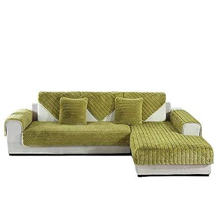 SQINAA Felpa,De Lujo Color sólido Slipcover del sofá Antideslizante Protector de colchón en Forma de l Sofá Seccional-Verde 70x120cm(28x47inch)