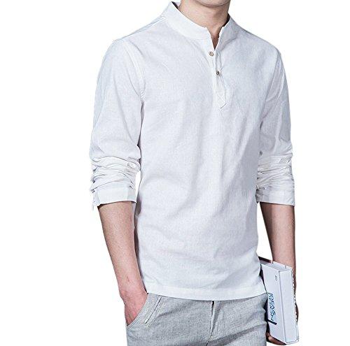 Teresamoon Slim Fit Top, Men Flax Casual T-Shirts