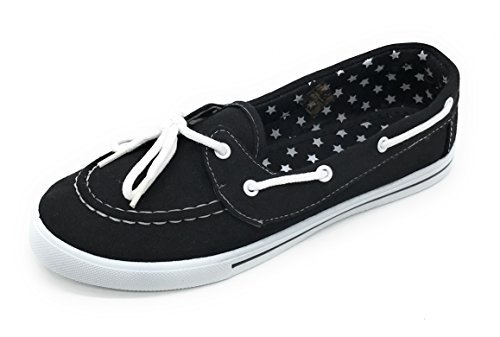 Boat up EASY21 Black Blue Sneaker Flat Tennis Round On Lace Slip Canvas Berry Shoe Comfy Toe Zq7Iwp5x8I