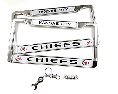MT-Sports Store Football Team Car Licenses Plate Stainless Steel Frames & 4 Pcs Tire Valve Stem Caps (Kansas City Chiefs)
