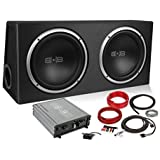 Belva 1200 watt Complete Subwoofer Package Includes Two (2) 12-inch Subwoofers in Ported Box, Monoblock Amplifier, Amp…