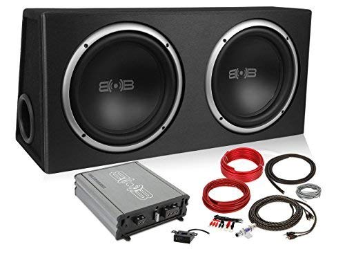 Belva 1200 watt Complete Subwoofer Package Includes Two (2) 12-inch Subwoofers in Ported Box, Monoblock Amplifier, Amp Wire Kit [BPKG212v2] (12 Inch Subwoofers In Box With Amp)