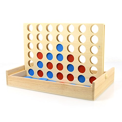 IAMGlobal 4 in a Row. Four in a Row Wooden Game, Line Up 4, Classic Family Toy, Board Game For Kids and Family For Fun