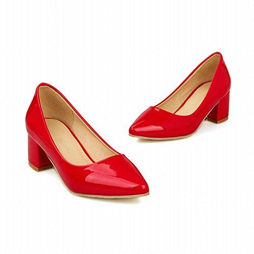 Carol Zapatos Chic Elegancia Para Mujer Cuff Punta Estrecha Atractivo Grueso Talón Vestido Bombas Zapatos Rojo