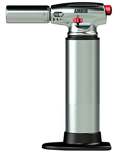 AMRIU GF-877 Micro Butane Torch Lighter,Silver - Kitchen Craft Cook s Blow torch Professional Grade Culinary Blow torch for Cooking & Baking For Camping Welding Flamethrower BBQ Outdoor
