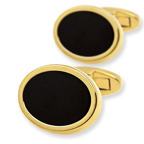 (KFLK Oval Gold plated Cufflinks With Black Stone (Gold))