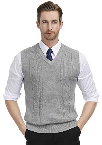 Men's V-Neck Knitting Vest Classic Sleeveless Pullover Sweater Size XL Grey