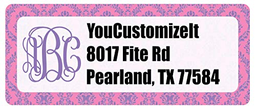 Pink & Purple Damask Return Address Labels (Personalized) ()