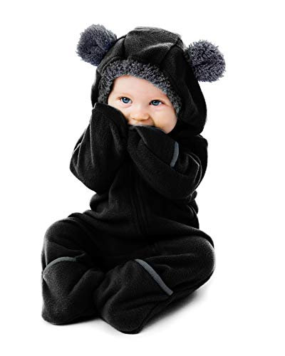 Cuddle Club Funzies Baby Bunting Fleece Hooded Romper Bodysuit (18-24 Month, Black) -