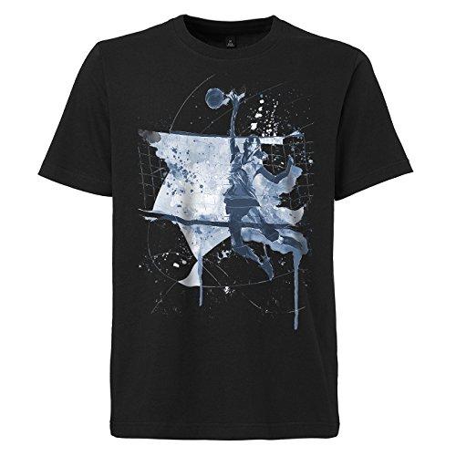 Volleyball schwarzes modernes Herren T-Shirt mit stylischen Aufdruck