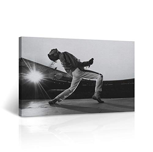 Freddie Mercury Canvas Print in Concert Picture Black and White Wall Art Legend Queen Motivational Wall Art Home Decor Stretched – Ready to Hang – 100 Handmade in The USA – 15×22