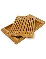 Relaxdays Broodsnijplank van bamboe h x b x d: ca. 3 x 37 x 21,5 cm snijplank met kruimelvak voor eenvoudige reiniging broodplank met uitneembaar kruimelrooster mesvriendelijk houten plank, naturel