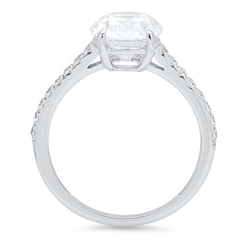Clara Pucci 1.99 ct Brilliant Oval Cut CZ Designer Accent Solitaire Ring in Solid 14k White Gold