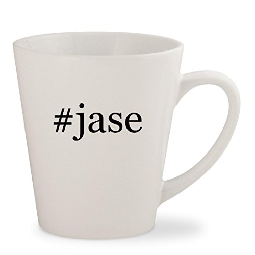 #jase - White Hashtag 12oz Ceramic Latte Mug - Sunglasses Jase
