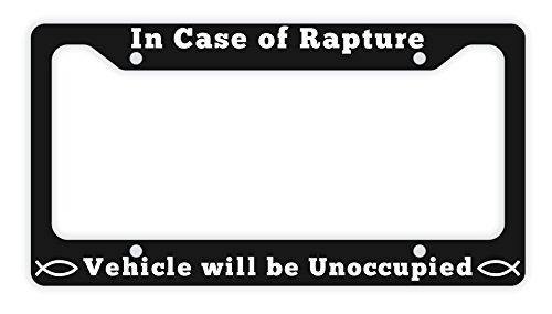 Jesus License Plate Frame In Case of Rapture Vehicle Will Be Unoccupied Christian Gifts for Women Christian Gifts for Men Jesus Gifts Christian Birthday Gifts Novelty License Plate Frame Black