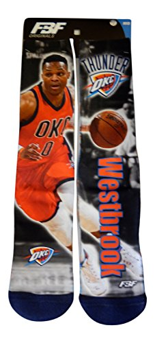 Russell Westbrook Oklahoma City Thunder Drive Montage Socks (3 Sizes Available) (Youth 13, (Oklahoma Player)