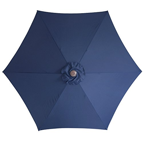 Le Papillon 9 Ft 6 Ribs Patio Umbrella Replacement Top Cover, Dark Blue (Patio Awning Covers Replacement)