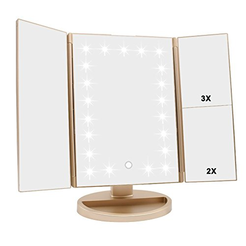 Tri-fold Lighted Vanity Makeup Mirror with 3x/2x/1x Magnification, 21Leds Light and Touch Screen,180 Degree Free Rotation Countertop Cosmetic Mirror,Travel Makeup Mirror (Gold) -
