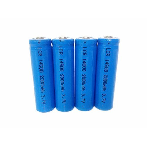 ON THE WAY®4Pcs AA Sized 14500 PROTECTED 2000mAh Lithium 3.7V Li-ion Batteries with a NIPPLE End with Charger for Battery Pack for RC Toys