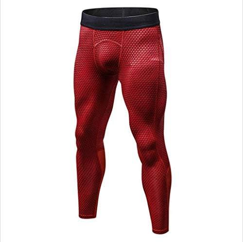 メンズフィットネスタイツ、スポーツランニングトレーニング、カジュアルストレッチクイックドライズボン (Color : Red, Size : M)