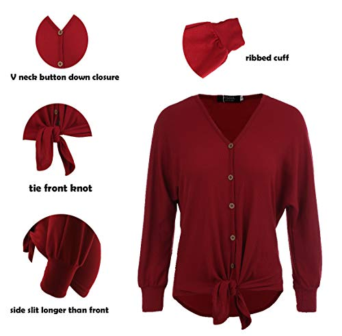 FISOUL Womens Blouse Long Sleeve V Neck Button Down T Shirts Tie Front Knot Casual Tops by FISOUL (Image #7)