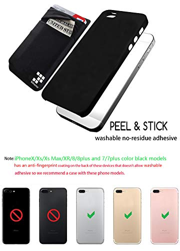 [2pc] Phone Card Wallet - Ultra-slim Self Adhesive Double Secure RFID-Blocking Phone Pocket,Credit Card Holder Sleeves Phone wallet sticker For All Smartphones (Black) Photo #2