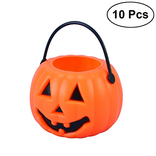 LUOEM 10pcs Halloween Portable Pumpkin Bucket Children Trick or Treat Pumpkin Candy Pail Holder Halloween April Fool 's Day Children's Party Decoration Halloween Gifts for Friends ()