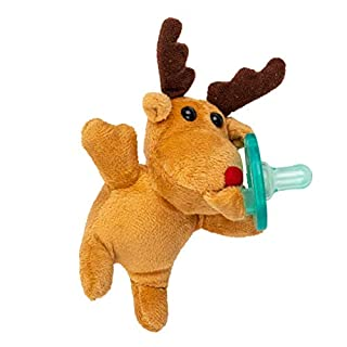 Reindeer Stuffed Animal Pacifier Holder, Latex-Free Soother with Stuffed Toy, Calming and Easy to Clean Baby Stuff, Newborn Pacifier- BabyLuv