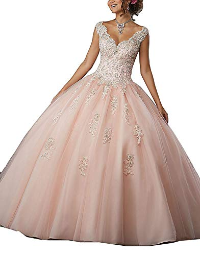 CharmingBridal Cap Sleeve Lace Graduation Ball Gown Quinceanera ()