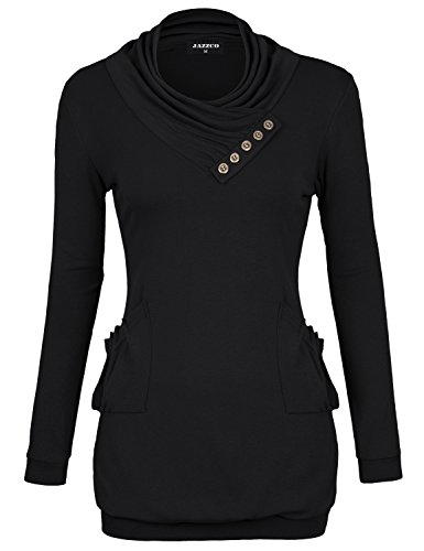 Jersey Shirts for Women,Jazzco?Long Sleeve Flared Shirt Flowy Loose Fit Swing Casual Tunic Basic Tops Black Medium