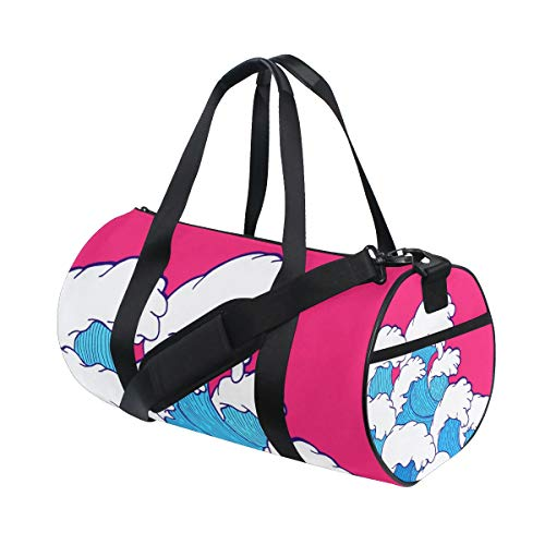Bali Wave - Gym Duffel Bag Waves Training Duffle Bag BaLin Round Travel Sport Bags for Men Women