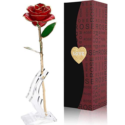 Forever Rose, 24K Gold Foil Trim Red Artificial Rose Flower Long Stem with Transparent Stand, Best Gift for Valentines Day, Mothers Day, Anniversary, Wedding, Birthday Gift, Treating Yourself (Red)