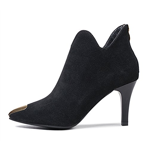 Zipper Ladies Ankle B Heel Suede Office Casual juqilu For Black High Shoes Warm Women Boots Fashion Boots For Party HvdxdIAFn