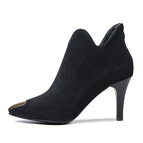 Damen Mittlere Absatz Stiefe - Veloursleder-Optik Zipper Ankle Boots Winter Warm Mode Metallpflaster Einfarbig Stiefel Schuhe schwarz B