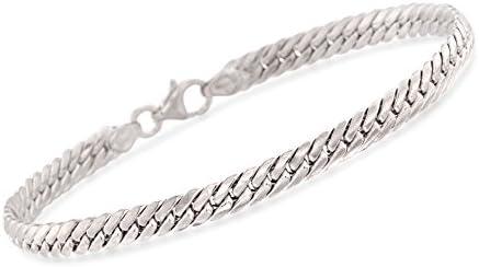 Ross-Simons Italian 14kt White Gold Cuban-Link Bracelet