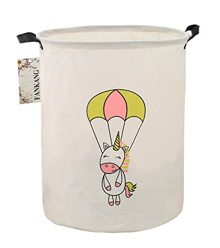 FANKANG Storage Bins, Nursery Hamper Canvas Laundry Basket Foldable with Waterproof PE Coating Large Storage Baskets for Kids Boys and Girls, Office, Bedroom, Clothes,Toys (Parachute Unicorn)