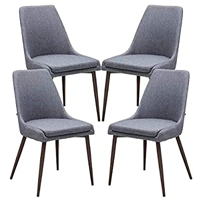 LITTLE TREE Dining Chairs, Mid-Century Modern Kitchen Chairs Set of 4 with Padded Seat and Sturdy Metal Legs for Dining Living Room
