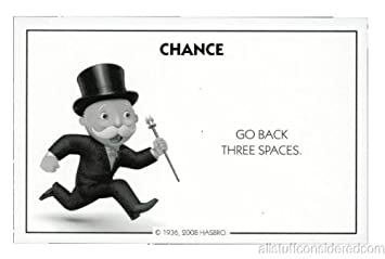 Amazon.com: Monopoly Chance Card Go Back Three Spaces ...