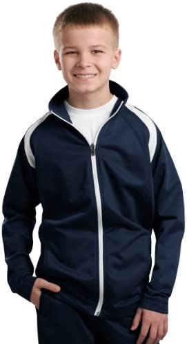 Sport-Tek Sport-Tek, Youth Tricot Track Jacket, True Navy/White, L