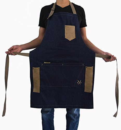MASHO APRON for men chef, PREMIUM Blue denim, useful multifunctional pockets, ideal for bbq, grill, kitchen or restaurants, the coolest inexpensive gift for grilling dads, COWBOY MODEL