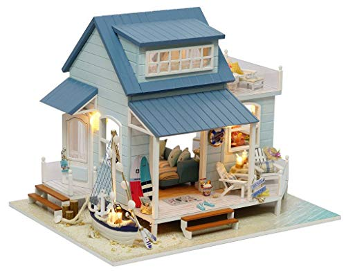 Rylai 3D Puzzles Wooden Handmade Miniature Dollhouse DIY Kit w/ Light -Caribbean Sea Series Dollhouses Accessories Dolls Houses with Furniture & LED & Music Box Best Xmas Gift for Women and Girls