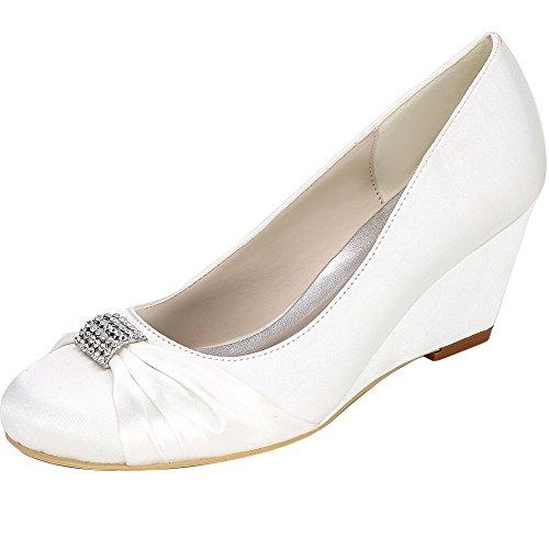Loslandifen Mujeres Wedges Round Toe Pumps Satin Wedding Zapatos De Novia Blanco