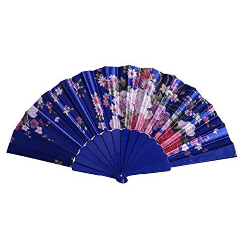 FEDULK Flower Fan Chinese Style Dance Wedding Party Lace Silk Lightweight Elegant Folding Hand Held Fan(Blue)