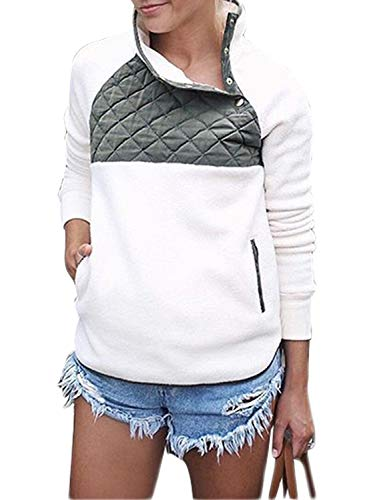 Sidefeel Women Button Neck Fleece Pullover Coat Asymmetrical Sweatshirts Outwear XX-Large White