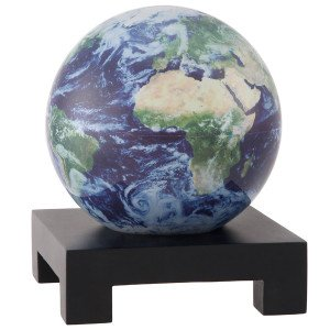 6'' Satellite View with Cloud Cover MOVA Globe with Square Base in Black