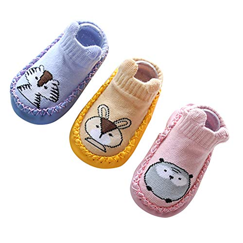 Soft and Breathable Newborn Girls Boys Anti-Slip Casual Socks Slipper Shoes Boots 3 Pairs M 12CM