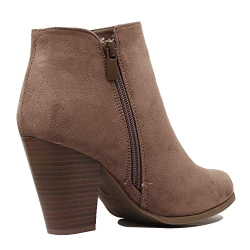 Ankle Taupe Heel Block Heart Comfortable Boots Mid Chunky Western Guilty Womens Bootie Suede dfp0qwYpP