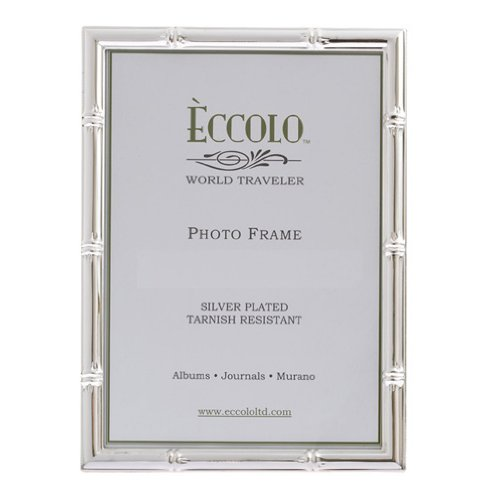 Eccolo World Traveler Bamboo Pattern Silver Plated Frame, Ho