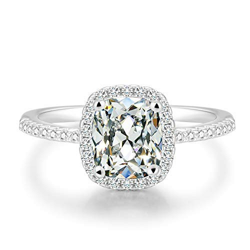 (BeFab 2.25 Ct Cushion Cut Anniversary Ring Cubic Zirconia Accented Halo Engagement Ring (Silver, 7))